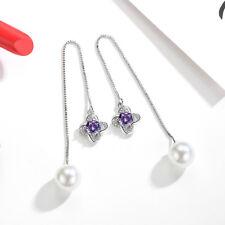 Pearl Crystal Flower Pendant 925 Sterling Silver Ear Line Earrings For Women