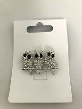 Gorgeous 3 Owl Diamante Crystal Brooch Silver metal 3 owls *New* gift