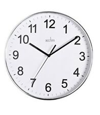 Acctim Crewe White Round Dial Silver Polished Chrome Case Wall Clock 22557