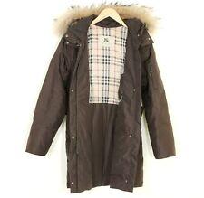 BURBERRY London Fur Hooded Goose Down Coat Parka Jacket Women Size 36 MJ980