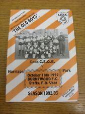 10/10/1992 Leek C.S.O.B v Burntwood Town [Staffordshire FA Vase] . Thanks for vi