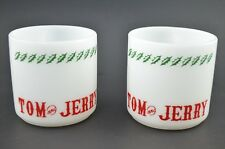 Tom Jerry Mug Cup Set of 2 Milk Glass Holiday Christmas Red Green Heat Proof