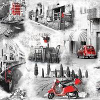 Servietten 20, Serviettentechnik Italian Streets Vespa Fiat 500 Ambiente 33 x 33