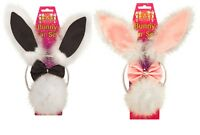 HEN PARTY NIGHT FLUFFY 3 PIECE HEADBAND TAIL BOW TIE BUNNY EARS PINK BLACKC15178