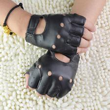 Outdoor Sport Half-finger Leather Punk Gloves PU Black Fingerless Gloves