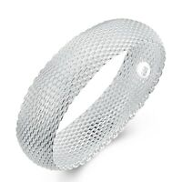 18K White Gold Plated  Mesh Wide Stretch Womens Bangle Bracelet