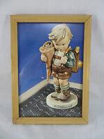 """M.J. Hummel Print of Figurine Boy Framed Wood Picture Frame Vintage 6""""1/2 X 9"""""""