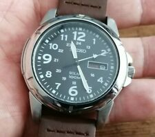 Mens Seiko Solar Powered Day Date Field type Watch SNE095P2