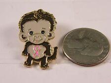 BABY MONKEY PINK RIBBON BREAST CANCER AWARENESS PIN