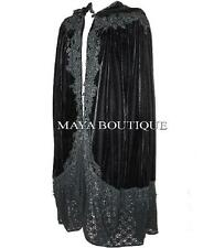 Cloak Opera Cape BLACK Victorian Rep Long Velvet & Lace Lined Maya Matazaro