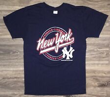 Vintage 1987 New York Yankees Blue Champion 50-50 T-Shirt Fits XS/S Made In USA