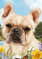 Outdoor Small Flag French Bulldog Cream Dog Summer Flowers Garden Flag