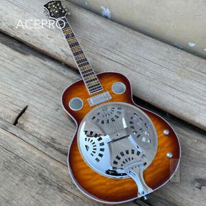 Vintage Sunburst color Quilted Maple Dobro Resonator Steel Electric Guitar