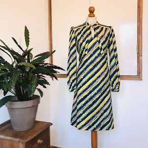 Vtg 80s Blue Yellow Green Diagonal Stripe Print Long Sleeve Pussy Bow Dress 16