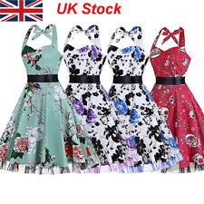 Women's 50s 60s Rockabilly Vintage Floral Retro Evening Party Swing Dress 8-18
