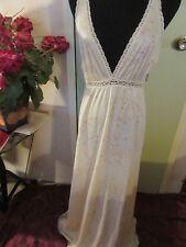 Vintage Miss Elaine Long Lite Lemon Yellow Nightgown About Sz. Small