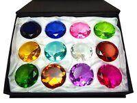 12 pcs Box Set 40-80mm Round Cut Fancy Crystal Glass Diamond Paperweight