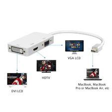 Adattatore 3-in-1 Thunderbolt Mini DisplayPort DP a HDMI VGA DVI Cavo Convertito