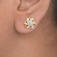 Diamond Pave 18K Yellow Gold Floral Fine Stud Earrings Christmas Gift Jewelry