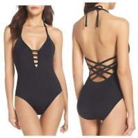 Women's La Blanca Caged Strap One-Piece Halter Swimsuit Black Size 6