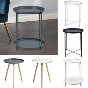 Small Bedside Living Room End Table Metal Sofa Side Coffee Tea Table Round Stand