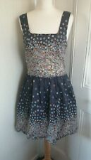 TOPSHOP floral Button Strap Dress Blue Ditsy Print Spring Summer Size 14 Cotton