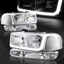 For 1999-2006 GMC Sierra 1500 2500 DRL LED Chrome Clear Headlights+Bumper 4PCS