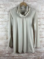 Pataonia Womens Long Sleeve Beige Long Sleeve Cowl Neck Top Size Large