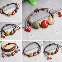 Unisexe Mode Elégant Ethnique Style Céramique Réglable Perles Bracelet Bijoux