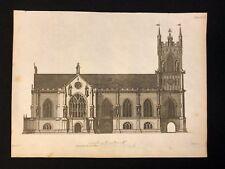 Antigüedad 1800 impresión arquitectónico constructores revista Norte frente a una iglesia CXIII