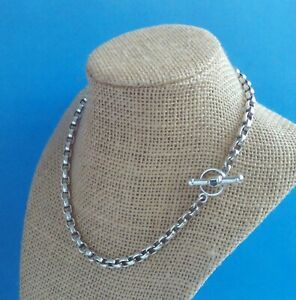 """STERLING SILVER SQUARED ROLO BARRY KIESELSTEIN CORD TOGGLE NECKLACE 16"""" 43 GRAM"""