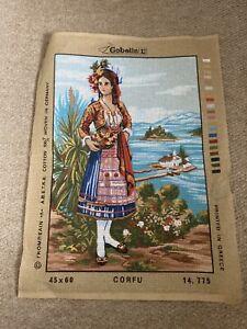 Gobelin printed tapestry canvas of traditionally dressed Greek female Corfu