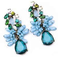 EMERALD PERIDOT GREEN SAPPHIRE BLUE AURORA BOREALIS Crystal Rhinestone Earrings