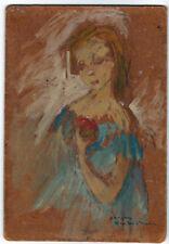 Huile sur panneau attribuée à Georges Van Den Busch (1928) Etude de femme