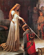 8x10 LEIGHTON  Art Print ACCOLADE Medieval Lady Knight Knighthood Sword Chivalry