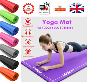 10MM THICK Anti-Slip Yoga Mat for Exercise Fitness 183x61CM NBR With Carry Bag
