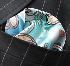 Hankie Pocket Square Handkerchief Blue Brown & Gold Floral