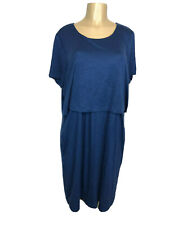 J Jill Blue Button Back Lined Upper Tunic Dress Women's Size XL Short Sleeve NEW