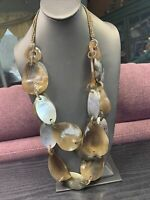 """Vintage Multi 2 Strand Mother Shell Chunky Bead Bohemian  Necklace 32"""" SM"""