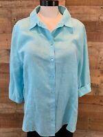 CHICOS-Size 3 Women's 1X Plus Light-Blue 3/4-Sleeve Linen Button-Shirt Top NWOT