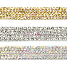 10 Metres Crystal Rhinestone Cup Compact Close Silver AB Gold Chain Trimming DIY