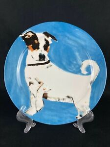 Sally Muir Anthropologie Dog-A-Day Dog Plate Jack Russell Terrier on Blue