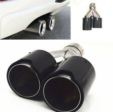 Car Carbon Fiber Exhaust Pipe TWIN Exhaust Tips Left&Right Side Glossy For BMW