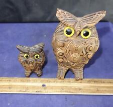 Vtg 2 OWLs WONY ART YAKUSUGI WOOD SCULPTURE STATUE JAPAN Cryptomeria Owl !
