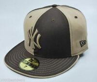 New Era 59Fifty Hat MLB New York Yankees Mens Brown and Beige Fitted 5950 Cap