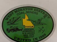 Retro Mining Sticker - West Moreton District Coal Miners United in 1989 - Green