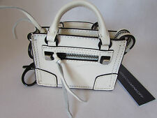 Rebecca Minkoff Leather Regan Satchel Key Fob Antique White
