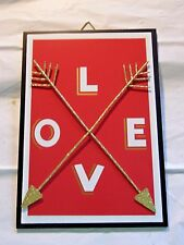 Red & WHITE WOOD Love Cupids Arrows VALENTINE'S DAY SIGN DECORATION