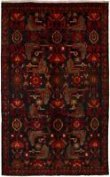 """Hand-knotted Carpet 4'10"""" x 8'0"""" Traditional Vintage Wool Rug"""