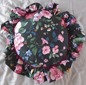 Vintage 1989 J F Stevens black cabbage roses floral ruffle round pillow 17x17
